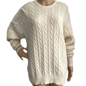 Harrison Cashmere Ivory Cable Knit Sweater L